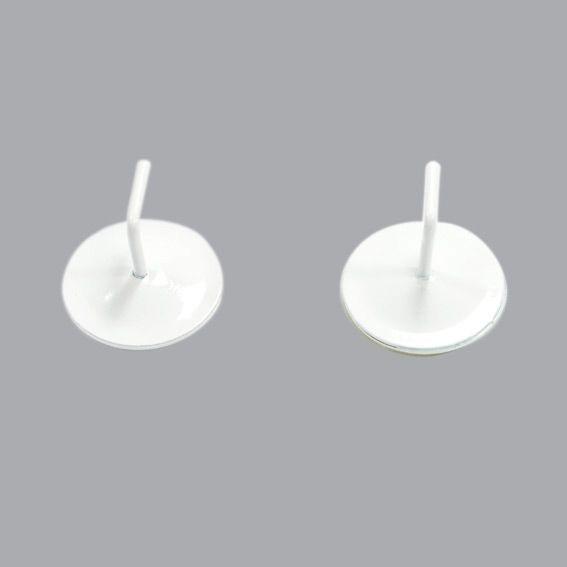 Lot de 2 supports adhésifs métal Blanc laqué - Tringle vitrage - Eminza