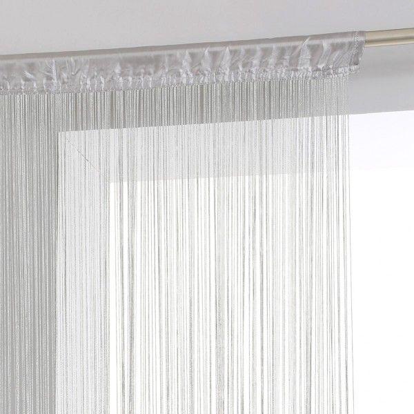 rideau de fil 90 x h200 cm uni gris rideau de porte. Black Bedroom Furniture Sets. Home Design Ideas
