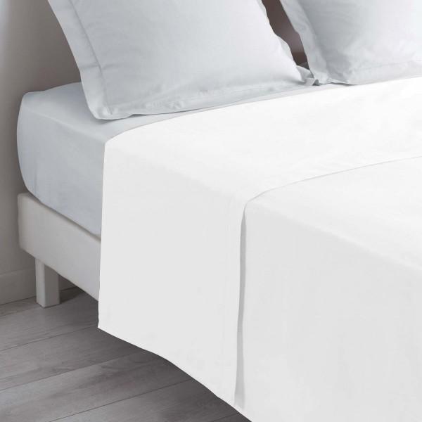 Drap plat coton (240 cm) Lina Blanc - Linge