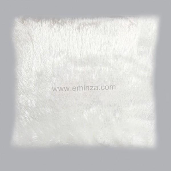 coussin fausse fourrure 40 cm peluche blanc d co textile eminza. Black Bedroom Furniture Sets. Home Design Ideas