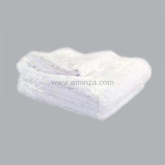 plaid imitation fourrure peluche blanc d co textile eminza. Black Bedroom Furniture Sets. Home Design Ideas