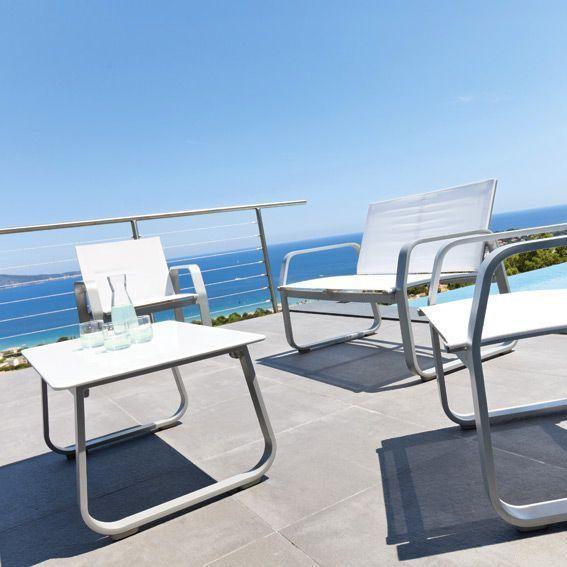 Salon de Jardin Gili Blanc - 4 places - Salon de jardin, table et ...