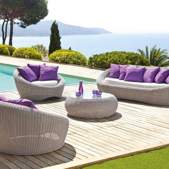 Salon de jardin Java Gris clair/Violet - 5 places - Salon de jardin ...