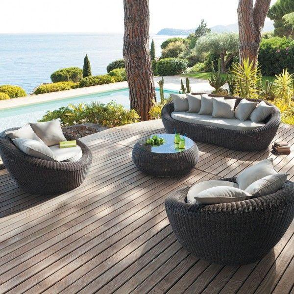 Salon de jardin Java Sepia/Sable - 5 places - Salon de jardin - Eminza