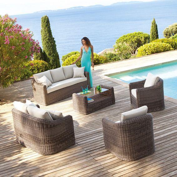 salon de jardin lavidia sable 7 places salon de jardin. Black Bedroom Furniture Sets. Home Design Ideas