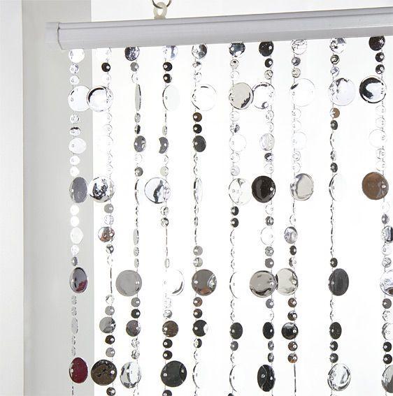 Rideau de porte (90 x 220 cm) Perles Plates Argent - Rideau ...