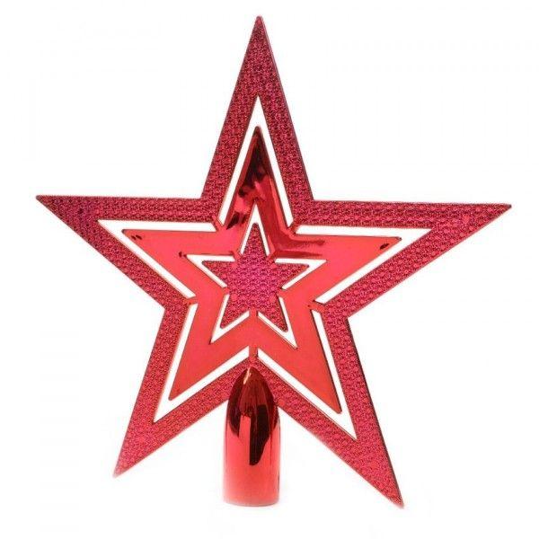 Cimier de sapin etoile brillante rouge cimier de sapin eminza - Cimier de sapin ...