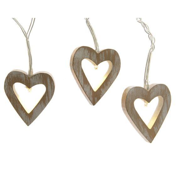 Guirlande lumineuse Coeurs bois LED Blanc chaud