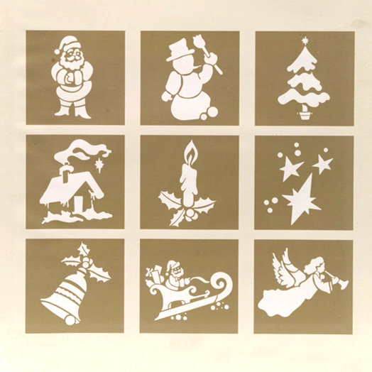 Plantillas Para Decorar Ventanas En Navidad.Lote De 9 Plantillas De Estarcir Decoraciones De Navidad