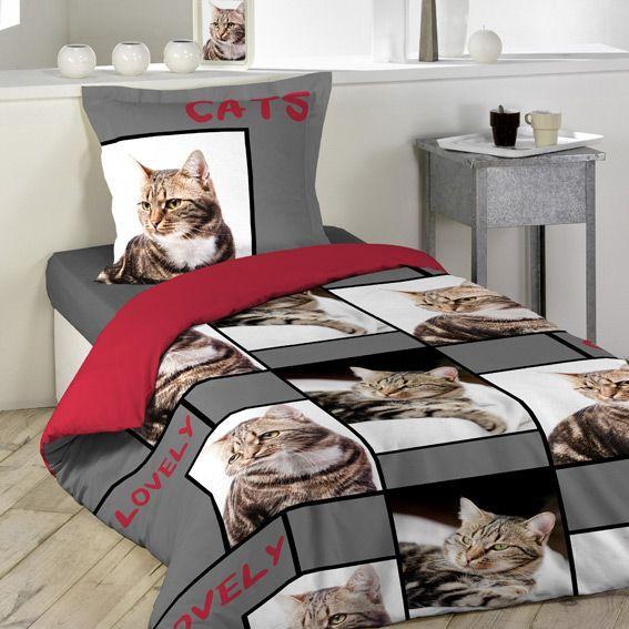 housse de couette et une taie 140 cm chats linge de. Black Bedroom Furniture Sets. Home Design Ideas