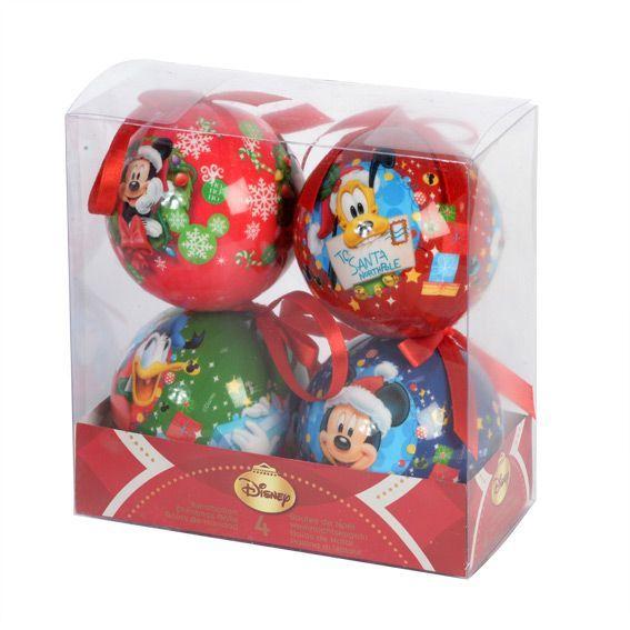 Lot de 4 boules de no l disney mickey boule de no l eminza - Boule de noel disney ...