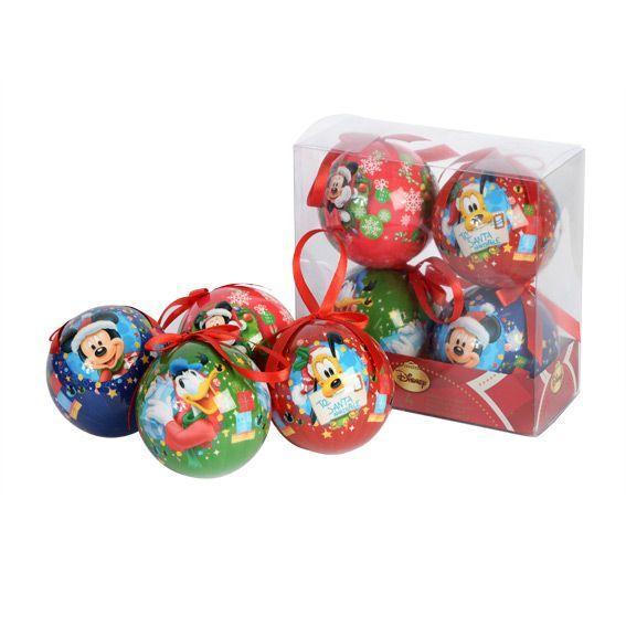 Lot de 4 boules de no l disney mickey boule de no l eminza - Boule noel disney ...