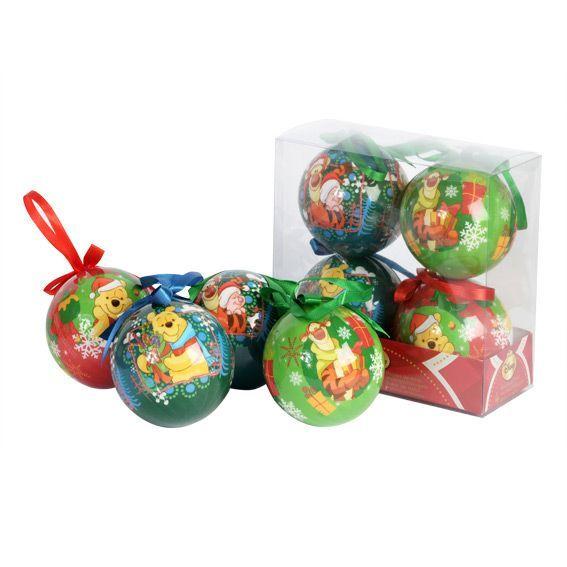 Lot de 4 boules de no l disney winnie l 39 ourson boule et - Winnie l ourson noel ...