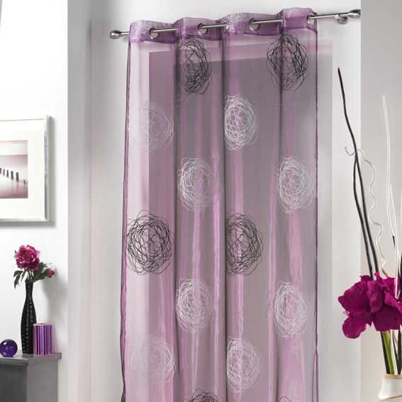Voilage 140 x h240 cm cachou violet rideau voilage store eminza for Rideau aubergine