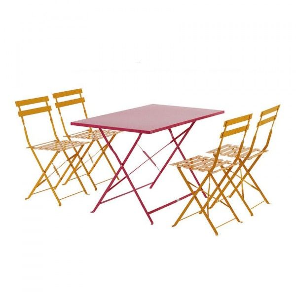 Table de jardin pliante Camargue Rouge framboise 110 x 70 cm ...