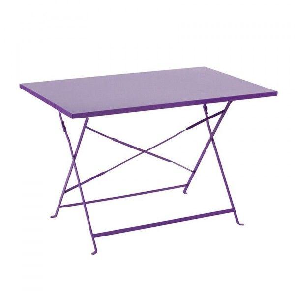 table de jardin pliante m tal camargue 110 x 70 cm violet table de jardin eminza. Black Bedroom Furniture Sets. Home Design Ideas