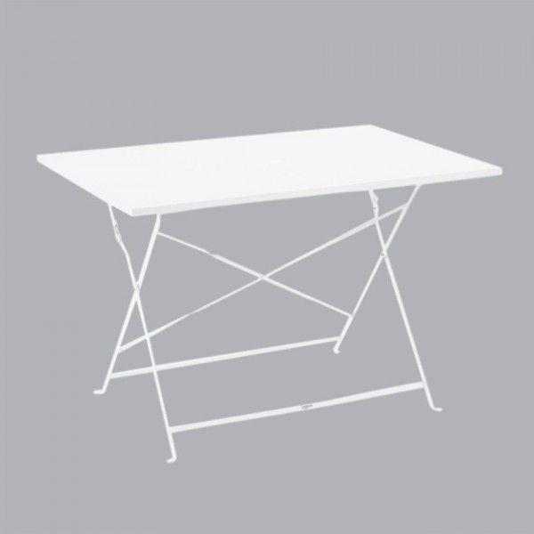 Table de jardin pliante Métal Camargue (110 x 70 cm) - Blanc - Salon ...
