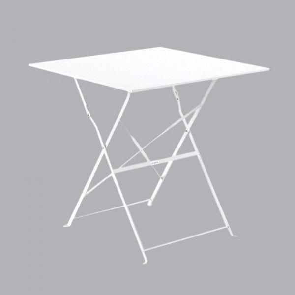 Table De Jardin Pliante Metal Camargue 70 X 70 Cm Blanc
