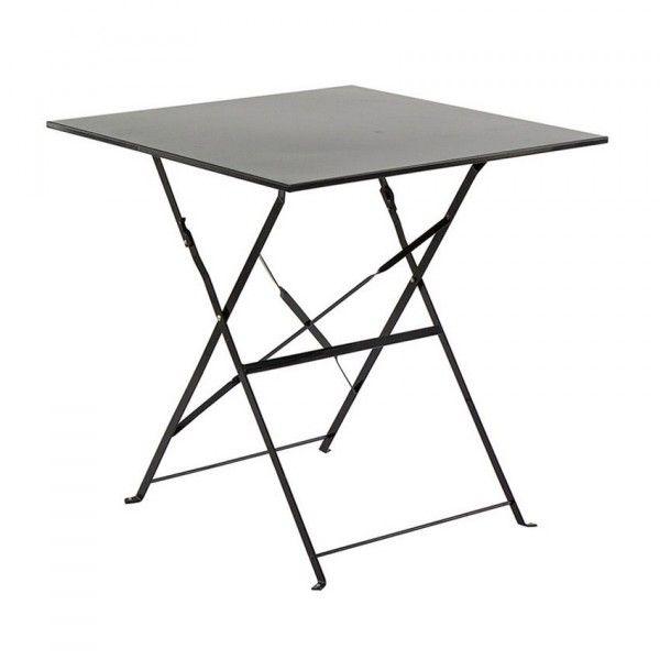Table de jardin pliante Métal Camargue (70 x 70 cm) - Noir