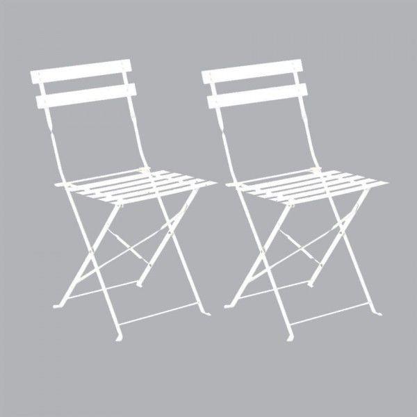 Lot de 2 chaises de jardin pliantes Camargue - Blanc