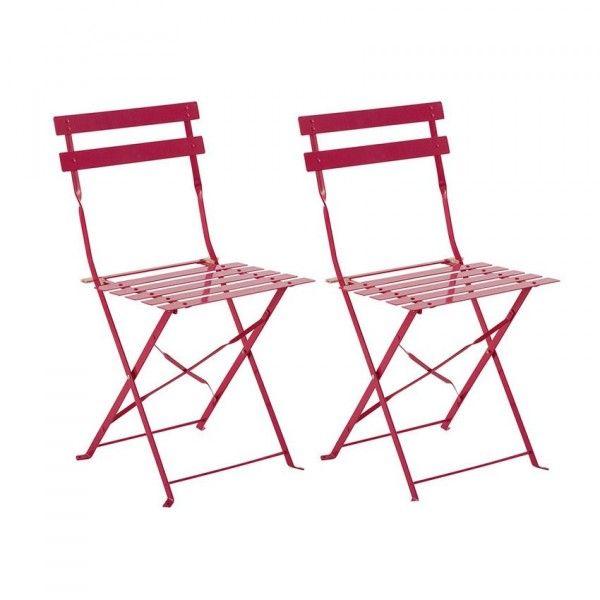 Lot de 2 chaises de jardin pliantes Camargue - Framboise - Salon de ...