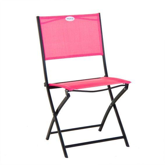 Chaise de jardin Modula Framboise - Noir - Salon de jardin, table et ...