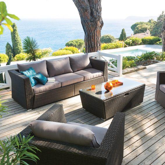 salon de jardin bargino chocolat 5 places salon de jardin eminza. Black Bedroom Furniture Sets. Home Design Ideas