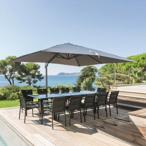 parasol d port fresno rectangulaire l 4 x l 3 m anthracite parasol voile et paravent. Black Bedroom Furniture Sets. Home Design Ideas