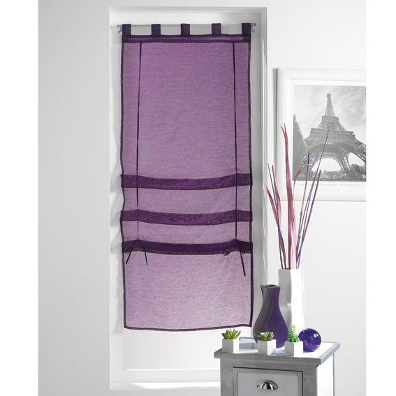 store voilage droit 45 cm lissea prune rideau voilage store eminza. Black Bedroom Furniture Sets. Home Design Ideas