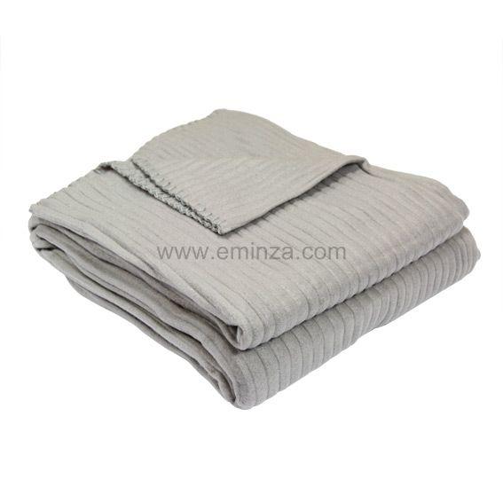 plaid polaire c tel gris clair d co textile eminza. Black Bedroom Furniture Sets. Home Design Ideas