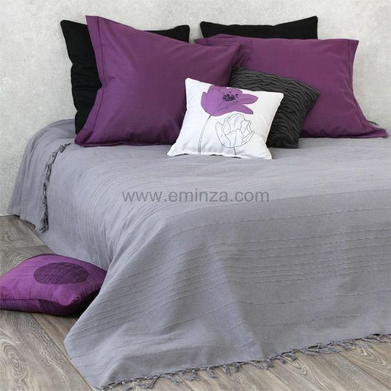 couvre lit frang gris - Dessus De Lit Violet
