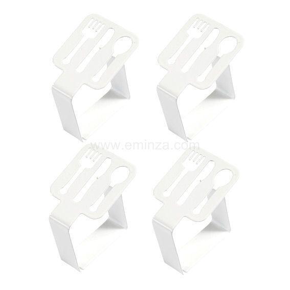 lot de 4 pinces pour nappe couverts blanc eminza. Black Bedroom Furniture Sets. Home Design Ideas
