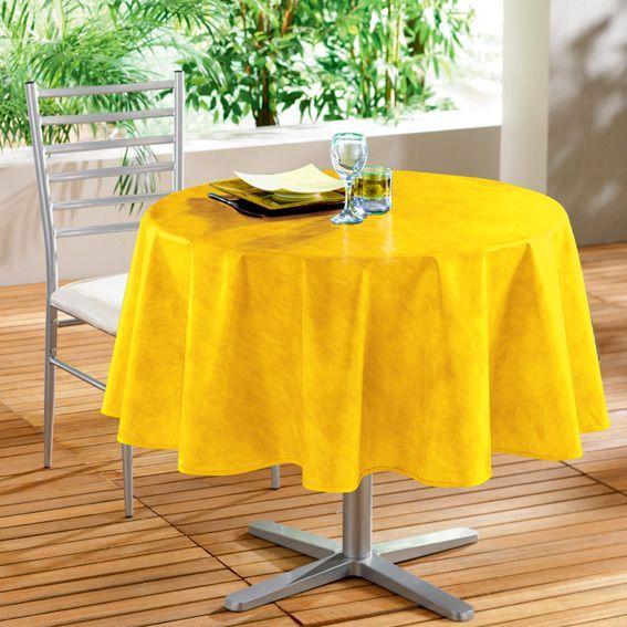 nappe ronde b ton cir jaune toile cir e. Black Bedroom Furniture Sets. Home Design Ideas
