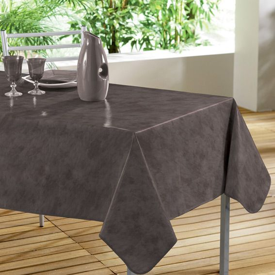 nappe rectangulaire b ton cir taupe toile cir e linge de table eminza. Black Bedroom Furniture Sets. Home Design Ideas