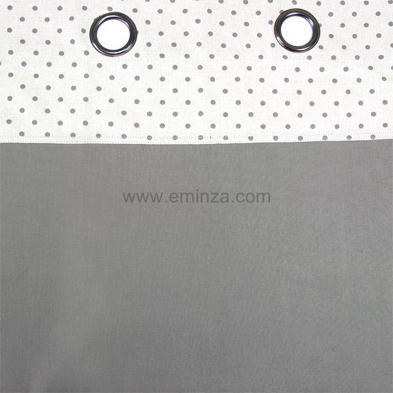 rideau oeillets uni taupe pois gris fonc. Black Bedroom Furniture Sets. Home Design Ideas