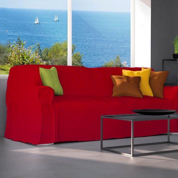 housse de canap 3 places contemporaine rouge d co textile eminza