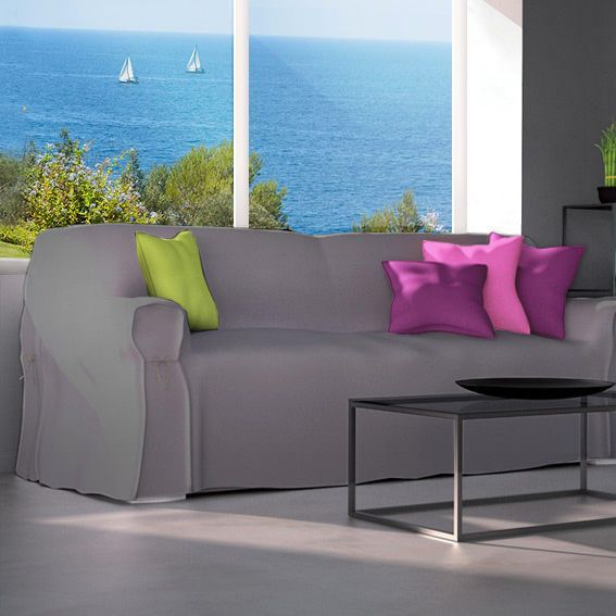 Housse de canap 3 places contemporaine gris clair d co - Housse de canape gris ...