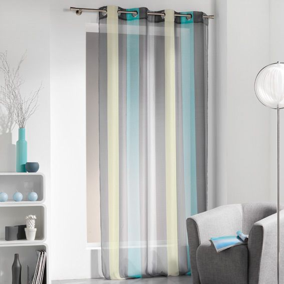 Voilage (140 x H240 cm) Bayad�re Riviera Turquoise