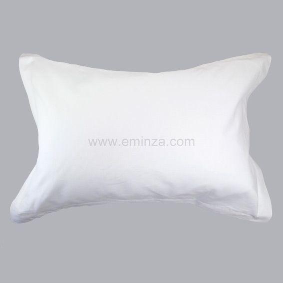 taie d 39 oreiller rectangulaire coton uni blanc taie d 39 oreiller traversin eminza. Black Bedroom Furniture Sets. Home Design Ideas
