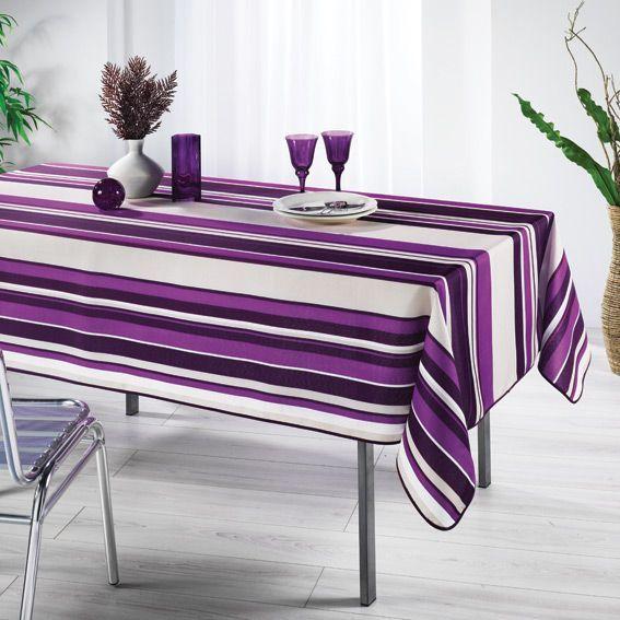 Nappe rectangulaire Bayadère Aubergine - Anti-tache - linge de table ...