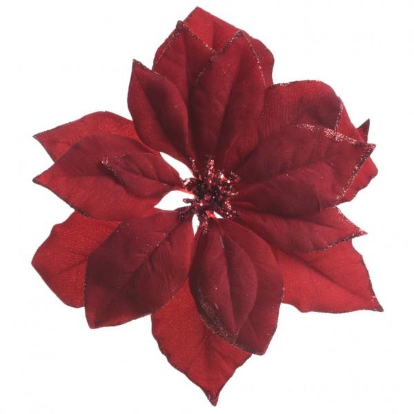 Fiore Di Natale Di Tessuto A Clips Rosso