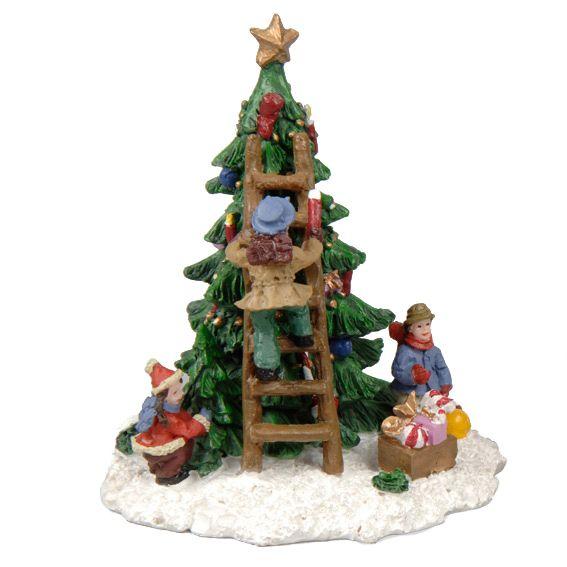Figuur Kind Naast De Kerstboom Meisje Kerstdorpen Eminza