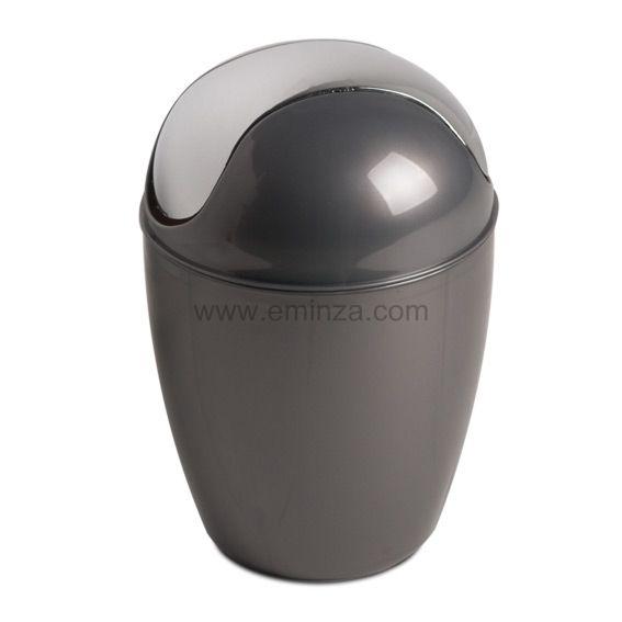 Mini poubelle happy gris accessoire salle de bain eminza - Accessoire salle de bain gris ...