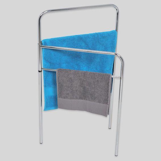 porte serviette sur pied 4 barres argent rangement eminza. Black Bedroom Furniture Sets. Home Design Ideas