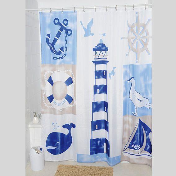 rideau de douche marin bleu premium accessoire douche baignoire eminza. Black Bedroom Furniture Sets. Home Design Ideas