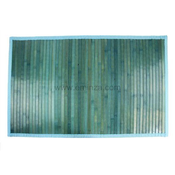 Tapis De Bain Lattes Bambou Bleu