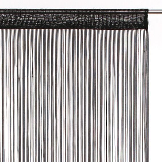 Rideau de fil (90 x H200 cm) Ruban Noir - Rideau / Voilage / Store ...