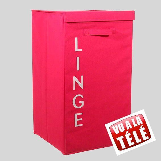 panier linge en tissu lettres rose panier linge eminza. Black Bedroom Furniture Sets. Home Design Ideas