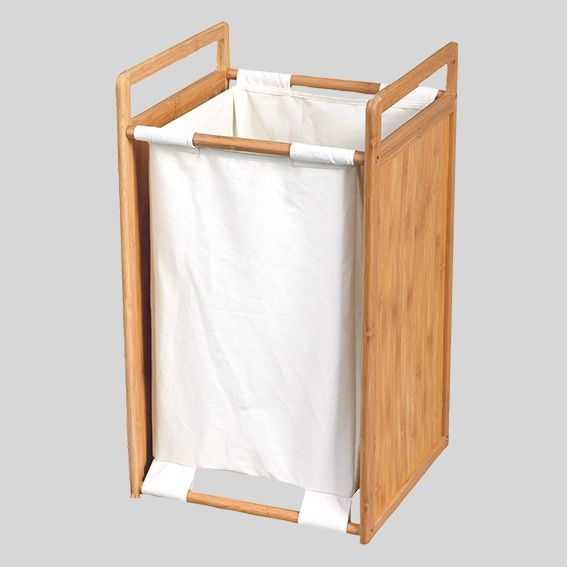 panier linge bois et tissu blanc rangement eminza. Black Bedroom Furniture Sets. Home Design Ideas