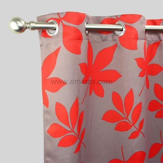 rideau occultant 140 x h240 cm fleurs rouge rideau. Black Bedroom Furniture Sets. Home Design Ideas